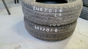 Pair of 2 Goodyear Tracker2 245/70R16 tires (65% tread life)