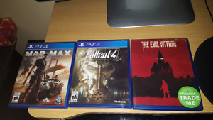 PS4 games: Mad max + Fallout 4 + The evil within