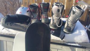 Snowboaerd Boots, helmet an bag. Boots are SOLD