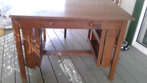 SOLID OAK MISSION LIBRARY TABLE