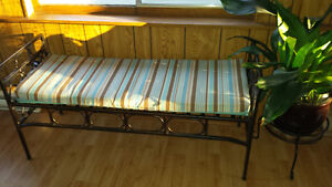 Pier 1 metal bench with outdoor cushion