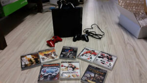 PS3 Slim 250gb 12 games 2 controllers