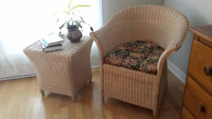 Chair & Table Wicker Set