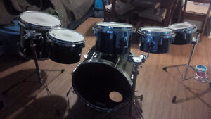 7 Piece Drum Set - Black