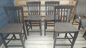 Bar Stools x 4, Solid Wood Construction, Made in Italy