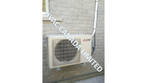 Ductless air conditioner and heat pumps