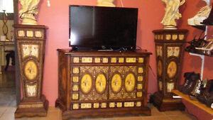 antique commode and pedestals