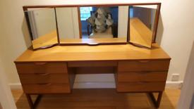 "Mid Century Teak Dressing Table / Desk plus matching stool ""Europa"""