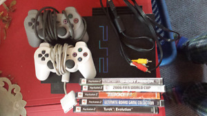Ps2 with games and controllers  but missing power cord
