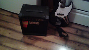 Fender bass guitar and amp