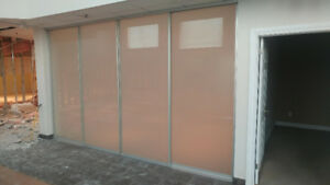 Large frosted glass sliding doors