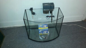 26 Gallon Rimless Bowfront Fish Tank Aquarium With Accessories