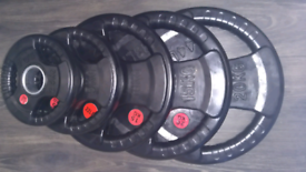 olympic Tri grip rubber coated iron weights