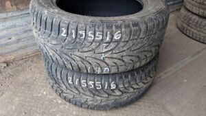 Pair of 2 Sailun Ice Blazer 215/55R16 WINTER tires (70% tread li