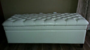 Leather Padded Storage Ottoman