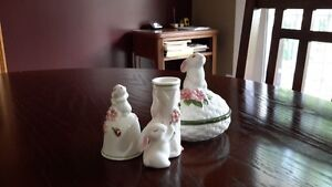 Vintage Avon Bunny Luv Trinket box, bell and candle holder