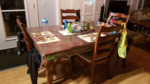 Solid wood dinner table and hutch for sale