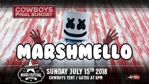 2 tickets for Marshmello at Cowboys tent tonight (July 15)