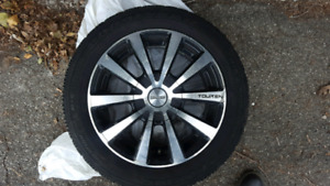 "4 x 16"" Touren R3 alloy rims with snow tires (need replacing)"