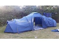Pro action 6 man tent plus 2 sleeping bags.