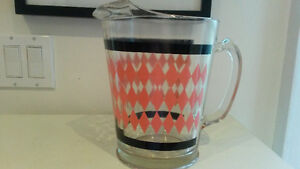 Retro Pink Diamond & Black Glass Pitcher