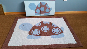Carpet and 2 canvas turtle