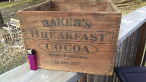 Baker's Breakfast Cocoa..Wood Box..Crate..Antique..Advertising