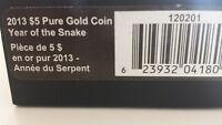 2013 $5 Pure Gold Coin Year of Snake