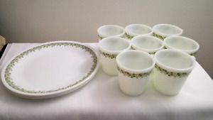 Vintage Pyrex Set of 8 Spring Blossom Mugs and 4 Corelle Plates