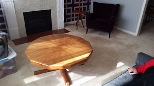Retro teak coffee table, dining chairs and lamp table combo