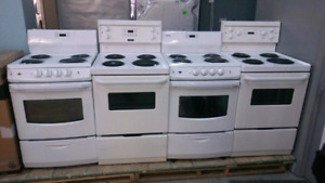 apartment size stoves with 6 month's warranty parts and labour