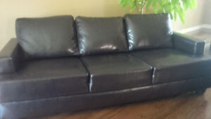 Dark Coffee Leather Couch + Loveseat - LIKE NEW! - MOVING SALE!!