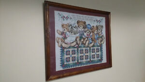 Teddy Bear Cross Stitch Picture/Framed - ***LOOK**