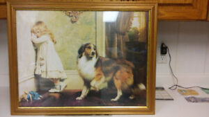 Antique girl and dog print under glass