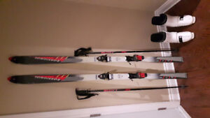 Rossignol downhill skis with boots & poles