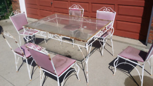 Vintage 1940's Wrought Iron Patio Set