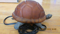 amber glass and metal turtle desk lamp