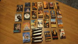 31 vhs,dvd,cd musique,films,spectacle, pour 25$ l'ensemble