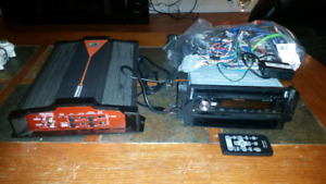 Amp and deck / head unit with remote  . 2 din .  wiring antenna