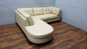 Free delivery: Real Leather Sectional Sofa