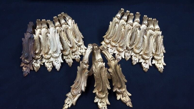 1920's Ornate French Solid Brass Leaf Design Drapery Rings Set of 17