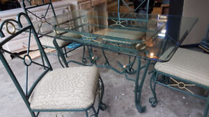 Glass and Steel table and chairs