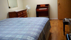 Furnished,& large Room in the basement with a separate entrance