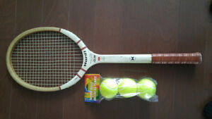 Vintage wooden Hanil Falcon tennis racket. Free balls too!