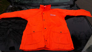ORANGE SAFETY WINTER JACKET WITH HOOD FIRE RATED #1 LARGE AND XL
