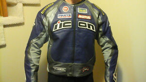 ICON motorcycle jacket and matching gloves