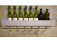 Shabby Chic / Distressed Look Rustic Wall Mounted Wine Rack / Glass Holder....