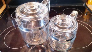 Vintage 4 Cup and 9 Cup Pyrex  Glass Coffee Pots