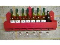 Large Rustic Wine Bottle & Glass Holder / Rack