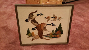 Embroidery Canada Geese Framed
